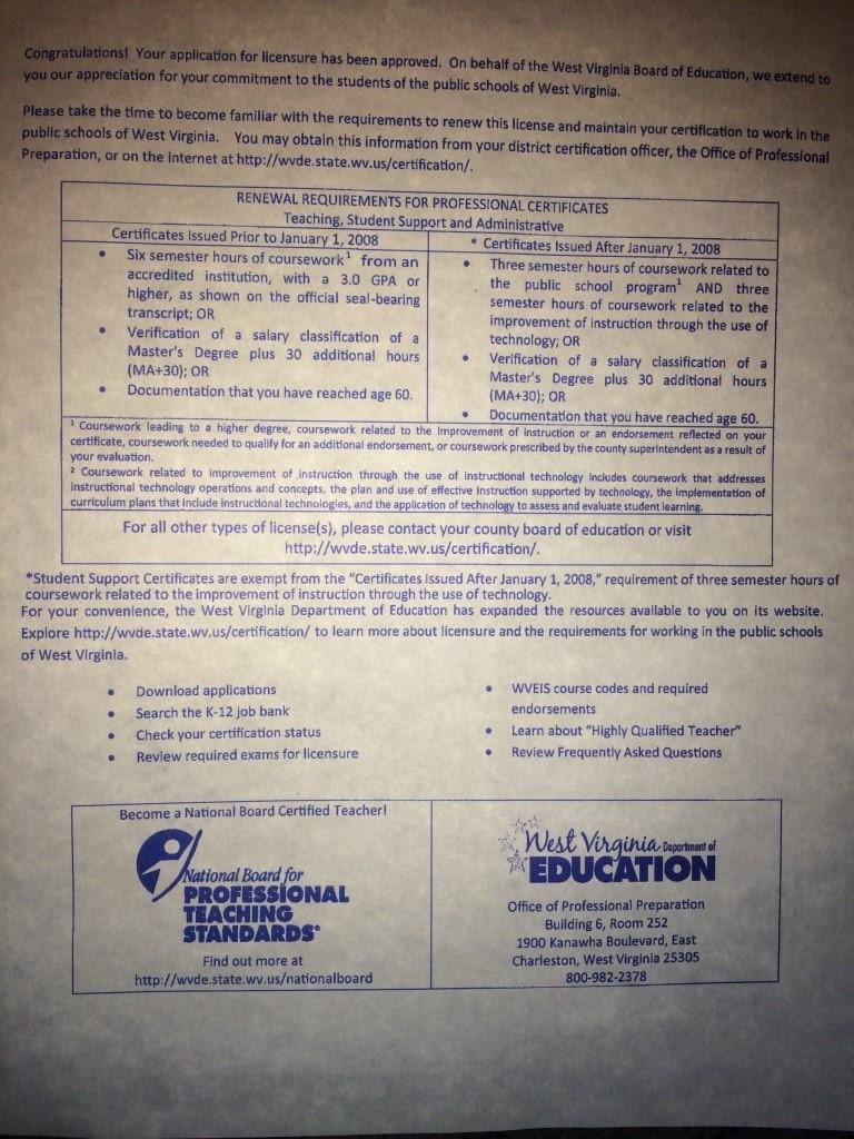 Wv Certification Mrs Mcnally S Mumblings